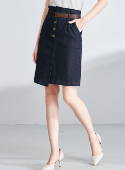 Brief Denim High Waist Belted Mini Skirt