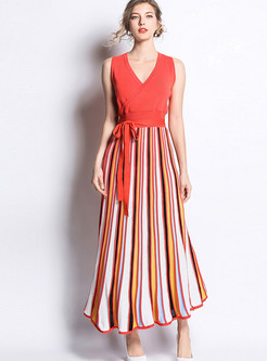 Color-blocked V-neck Sleeveless Splicing Striped Maxi Dress