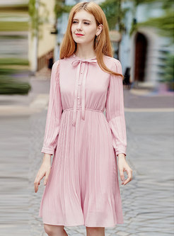 Sweet Pink Tie-collar High Waist Pleated Dress