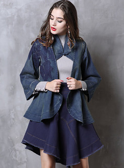Vintage Three Quarters Sleeve Hollow Out Denim Coat