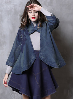 Three Quarters Sleeve Hollow Out Denim Coat