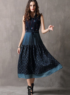 Ethnic Sleeveless Embroidered Patchwork Big Hem Dress