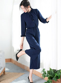 Solid Color Ruffled Collar Gathered Waist Jumpsuit