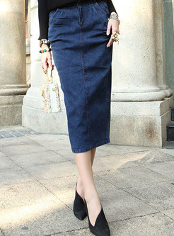 Fashion High Waist Midi Denim Slit Skirt