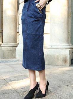 Fashion High Waist Midi Denim Slit Skirt