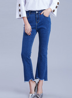 Fashion Solid Color Mid-waist Rough Selvedge Flare Pants