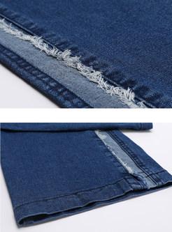 Color-blocked Mid-waist Long Denim Wide Leg Pants