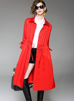 Red Fashion Turn-down Collar Belted Trench Coat
