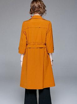 Kkaki Turn-down Collar Double-breasted Coat