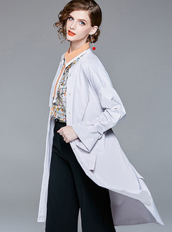 Brief Grey Crew-neck Long Sleeve Buttoned Coat