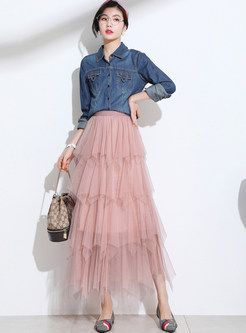 Sweet Elastic Waist Mesh Splicing Big Hem Skirt