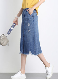 High Waist Holes Irregular Hem Midi Denim Skirt