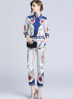 Lapel Long Sleeve Single-breasted Blouse & Slim Print Pants