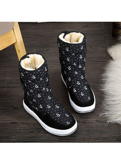 Casual Black Penguin Print Platform Snow Boots