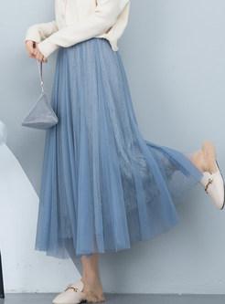 Solid Color Elastic Waist Mesh Big Hem Skirt
