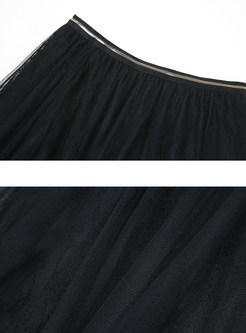 Brief High Waist Mesh Pleated A Line Skirt