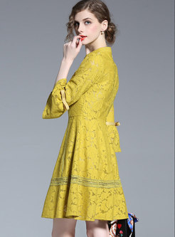 Stylish Splicing Flare Sleeve High Waist Slim Lace Dress