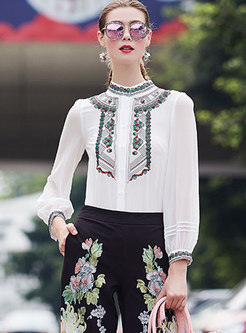 Elegant White Embroidered Stand Collar Single-breasted Blouse