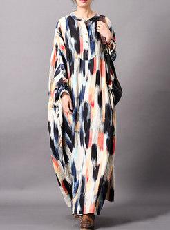 Casual Multi Color Print O-neck Loose Maxi Dress