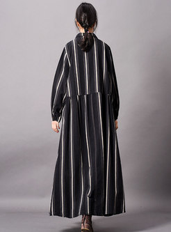 Stylish Striped Lapel Single-breasted Loose Coat