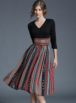 a48d2a0b7a31 Vintage Hit Color Embroidered Chiffon Skater Dress