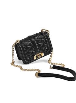 Black Fashion Cowhide Chain Crossbody Bag
