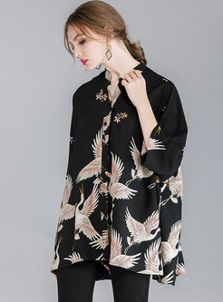 Stylish Crane Pattern Stand Collar Oversize Blouse