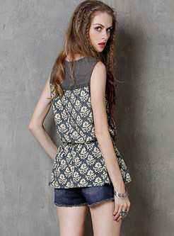 Color-blocked O-neck Sleeveless Pullover Print T-Shirt