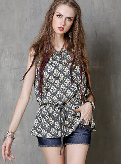 Color-blocked O-neck Sleeveless Pullover Print T-Shirt