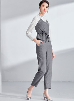 Elegant Color-blocked Belted Asymmetric Top & High Waist Straight Pants