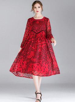 Fashion Hit Color Print High Waist Loose Chiffon Dress