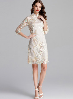 Vintage Mandarin Collar Mesh Embroidered Bodycon Dress