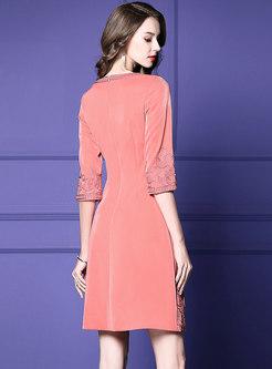 Elegant Embroidered Three Quarters Sleeve Slim Skater Dress