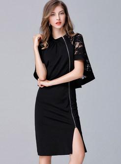 Sexy Bat Kimono Zippered Slit Plus Size Sheath Dress