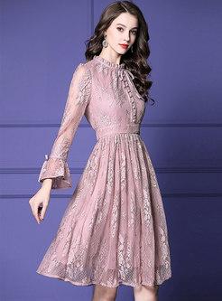 Retro Lace Ruffled Collar High Waist Skater Dress