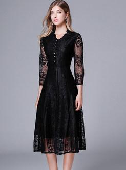 Black V-neck Waist Plus Size Mid-calf Skater Dress