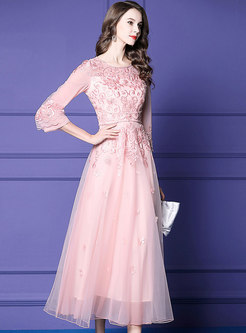 Elegant Embroidered Drilling Waist Maxi Prom Dress