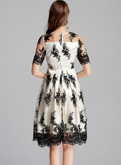 Sexy O-neck Mesh Embroidered Lace Skater Dress