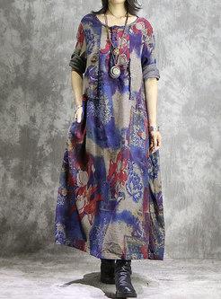 Vintage Print O-neck Hem Loose Maxi Dress