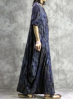 Vintage Print O-neck Hem Maxi Dress