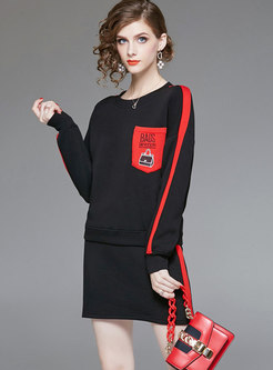Casual Long Sleeve Hoodies & Sexy Wrap Mini Skirt