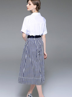 Brief White Turn-down Collar Top & Striped Wide-leg Pants