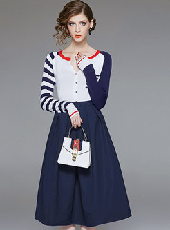 Fashion Crew-neck Knitted Top & High Waist Big Hem Skirt