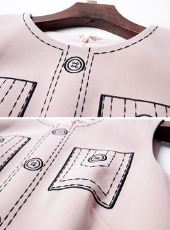 Pink Sleeveless High-rise Zipper Print Bodycon Dress