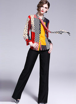 Stylish Color-blocked Tie-collar Bowknot Chiffon Blouse