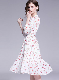 Sweet Floral Print Bowknot Pleated Skater Dress