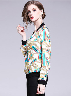 Stylish Color-blocked Print Stand Collar Short Coat