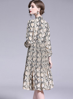 Trendy Print Bowknot High Waist Pleated Dress