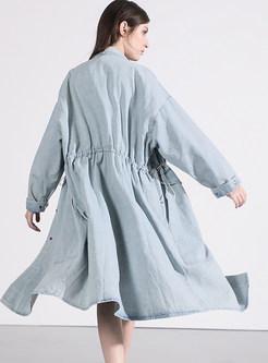 Stand Collar Single-breasted Drawstring Denim Coat