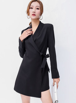 Elegant Black Turn Down Collar Tie-waist Asymmetric Romper
